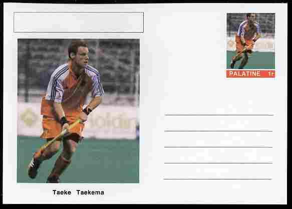 Palatine (Fantasy) Personalities - Taeke Taekema (field hockey) postal stationery card unused and fine