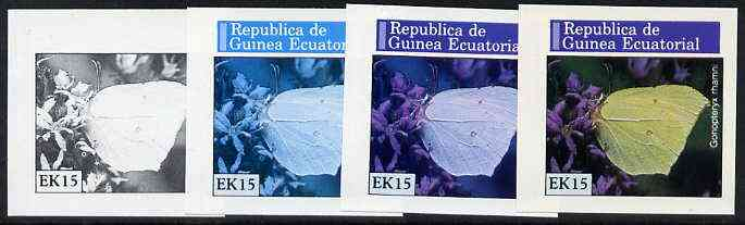Equatorial Guinea 1976 Butterflies EK15 (Gonopteryx rhamni) set of 4 imperf progressive proofs on ungummed paper comprising 1, 2, 3 and all 4 colours (as Mi 968)