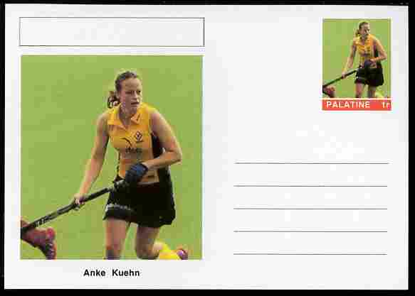 Palatine (Fantasy) Personalities - Anke Kuehn (field hockey) postal stationery card unused and fine
