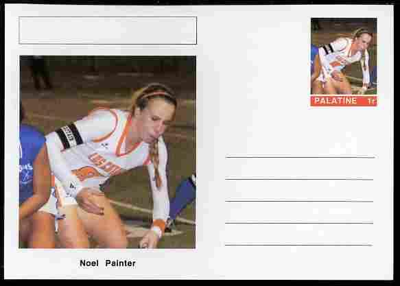 Palatine (Fantasy) Personalities - Noel Painter (field hockey) postal stationery card unused and fine