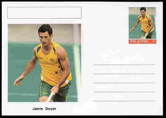Palatine (Fantasy) Personalities - Jamie Dwyer (field hockey) postal stationery card unused and fine