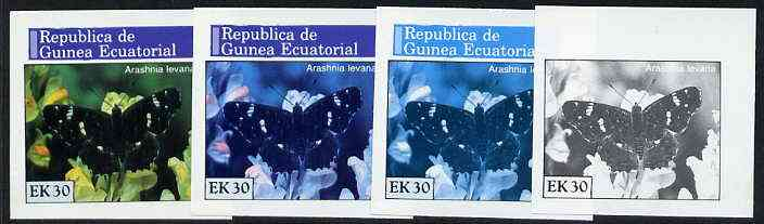 Equatorial Guinea 1976 Butterflies EK30 (Arashnia levana) set of 4 imperf progressive proofs on ungummed paper comprising 1, 2, 3 and all 4 colours (as Mi 969)