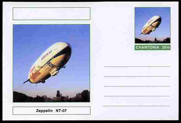 Chartonia (Fantasy) Airships & Balloons - Zeppelin NT-07 postal stationery card unused and fine