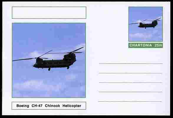 Chartonia (Fantasy) Aircraft - Boeing CH-47 Chinook Helicopter postal stationery card unused and fine