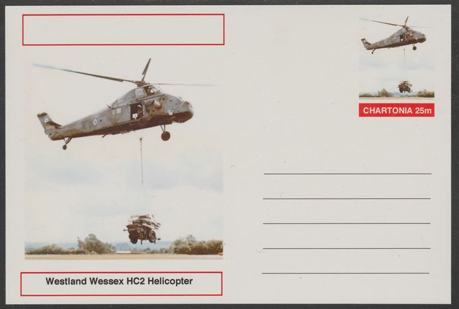 Chartonia (Fantasy) Aircraft - Westland Wessex HC2 Helicopter postal stationery card unused and fine