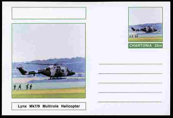 Chartonia (Fantasy) Aircraft - Lynx Mk7/9 Multirole Helicopter postal stationery card unused and fine