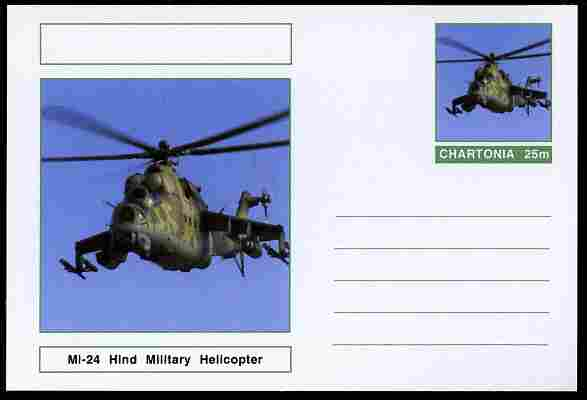 Chartonia (Fantasy) Aircraft - Mi-24 Hind Military Helicopter postal stationery card unused and fine