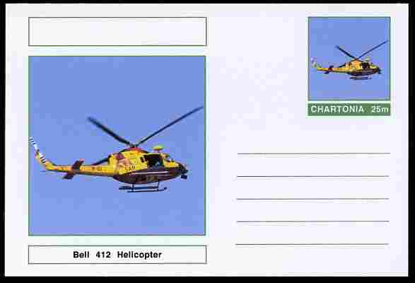 Chartonia (Fantasy) Aircraft - Bell 412 Helicopter postal stationery card unused and fine, stamps on transport, stamps on aviation, stamps on helicopters