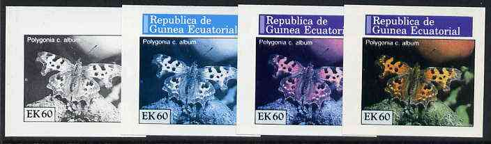 Equatorial Guinea 1976 Butterflies EK60 (Polygonia c. album) set of 4 imperf progressive proofs on ungummed paper comprising 1, 2, 3 and all 4 colours (as Mi 970)