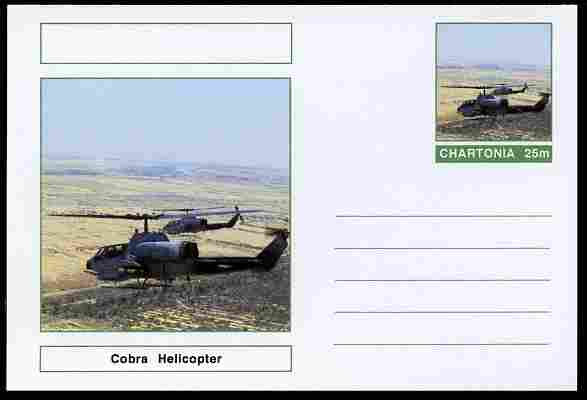 Chartonia (Fantasy) Aircraft - Cobra Helicopter postal stationery card unused and fine
