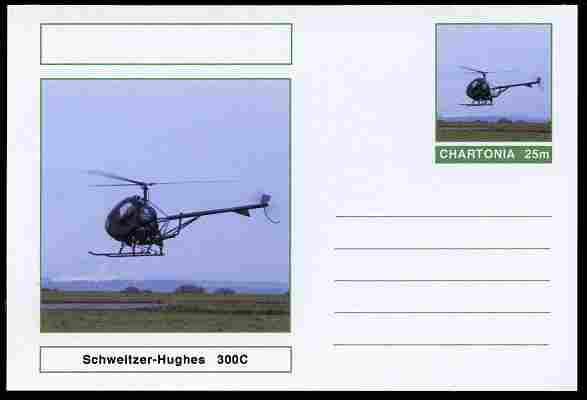 Chartonia (Fantasy) Aircraft - Schweitzer-Hughes 300C Helicopter postal stationery card unused and fine