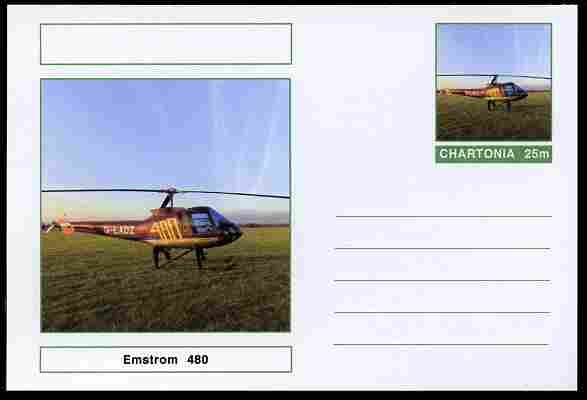 Chartonia (Fantasy) Aircraft - Emstrom 480 Helicopter postal stationery card unused and fine