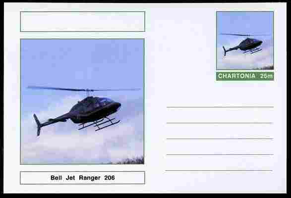 Chartonia (Fantasy) Aircraft - Bell Jet Ranger 206 Helicopter postal stationery card unused and fine