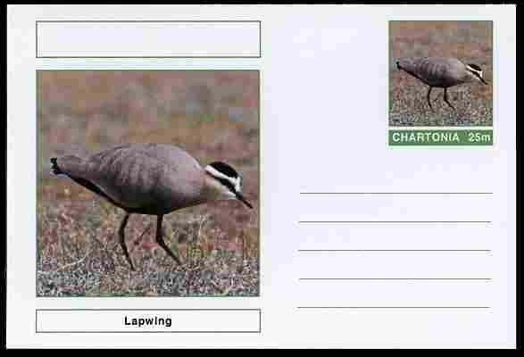 Chartonia (Fantasy) Birds - Lapwing postal stationery card unused and fine