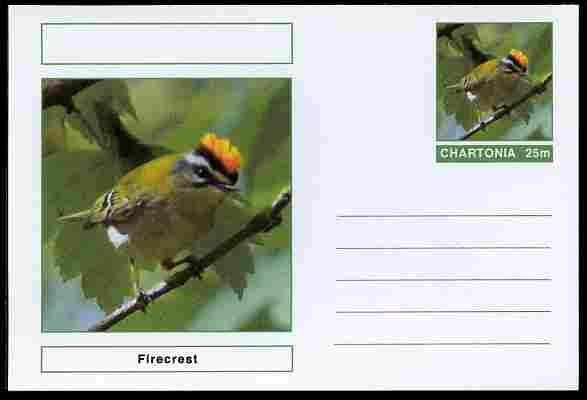 Chartonia (Fantasy) Birds - Firecrest postal stationery card unused and fine