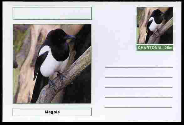 Chartonia (Fantasy) Birds - Magpie postal stationery card unused and fine
