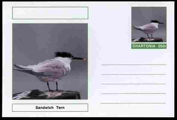 Chartonia (Fantasy) Birds - Sandwich Tern postal stationery card unused and fine