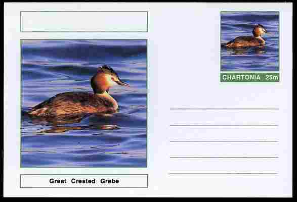 Chartonia (Fantasy) Birds - Great Crested Grebe postal stationery card unused and fine