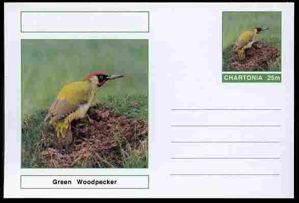 Chartonia (Fantasy) Birds - Green Woodpecker postal stationery card unused and fine