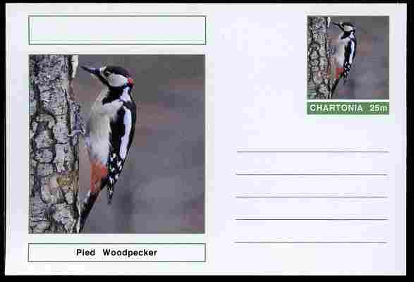 Chartonia (Fantasy) Birds - Pied Woodpecker postal stationery card unused and fine