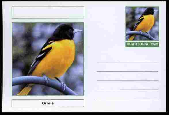 Chartonia (Fantasy) Birds - Oriole postal stationery card unused and fine