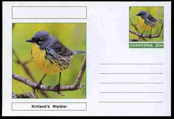 Chartonia (Fantasy) Birds - Kirtland's Warbler postal stationery card unused and fine