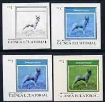 Equatorial Guinea 1977 Dogs EK1 (Zwergschnauzer) set of 4 imperf progressive proofs on ungummed paper comprising 1, 2, 3 and all 4 colours (as Mi 1129)