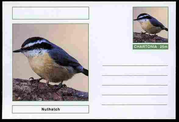 Chartonia (Fantasy) Birds - Nuthatch postal stationery card unused and fine