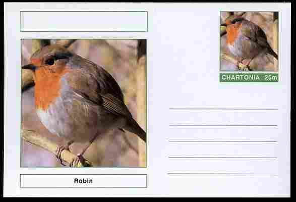 Chartonia (Fantasy) Birds - Robin (Erithacus rubecula) postal stationery card unused and fine
