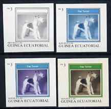 Equatorial Guinea 1977 Dogs EK3 (Fox Terrier) set of 4 imperf progressive proofs on ungummed paper comprising 1, 2, 3 and all 4 colours (as Mi 1130)