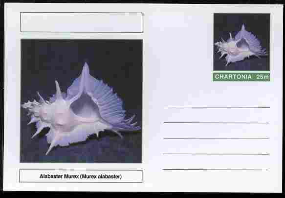 Chartonia (Fantasy) Shells - Alabaster Murex (Murex alabaster) postal stationery card unused and fine