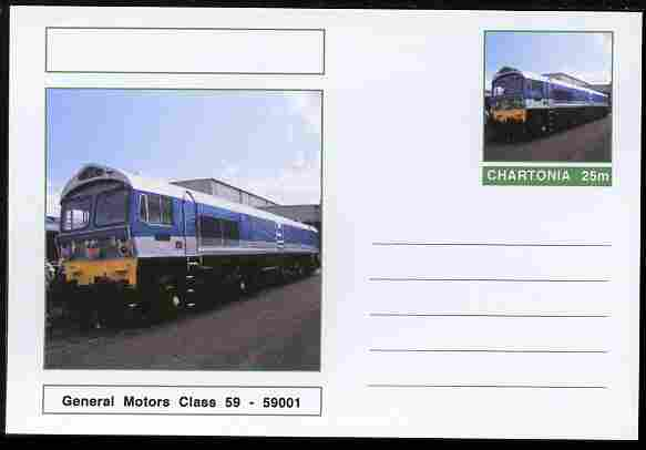 Chartonia (Fantasy) Railways - General Motors Class 59 - 59001 postal stationery card unused and fine