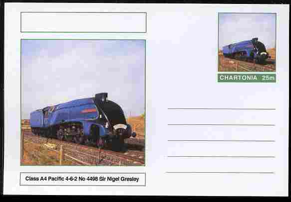 Chartonia (Fantasy) Railways - Class A4 Pacific 4-6-2 No.4498 Sir Nigel Gresley postal stationery card unused and fine