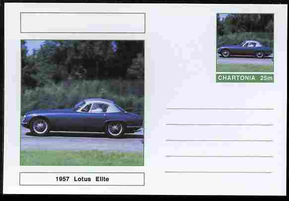 Chartonia (Fantasy) Cars - 1957 Lotus Elite postal stationery card unused and fine