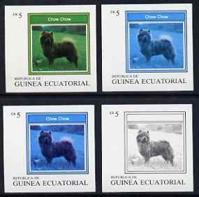 Equatorial Guinea 1977 Dogs EK5 (Chow Chow) set of 4 imperf progressive proofs on ungummed paper comprising 1, 2, 3 and all 4 colours (as Mi 1131)