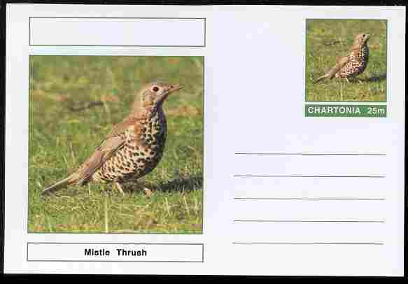 Chartonia (Fantasy) Birds - Mistle Thrush postal stationery card unused and fine