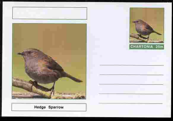 Chartonia (Fantasy) Birds - Hedge Sparrow postal stationery card unused and fine