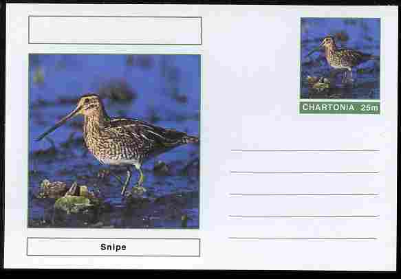 Chartonia (Fantasy) Birds - Snipe postal stationery card unused and fine