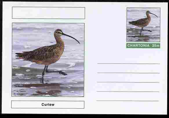 Chartonia (Fantasy) Birds - Curlew postal stationery card unused and fine