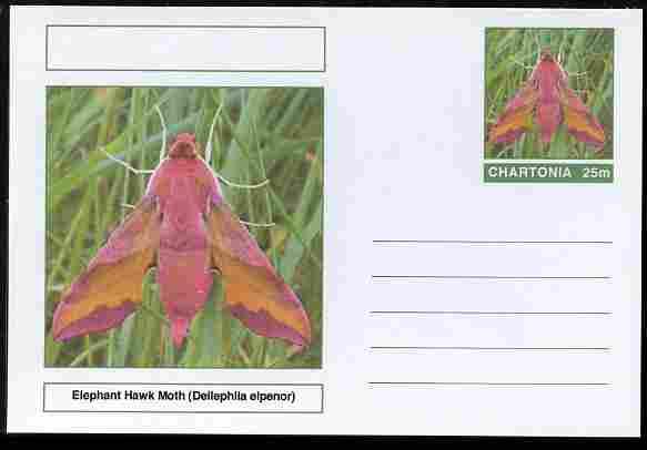 Chartonia (Fantasy) Moths - Elephant Hawk Moth (Deilephila elpenor) postal stationery card unused and fine