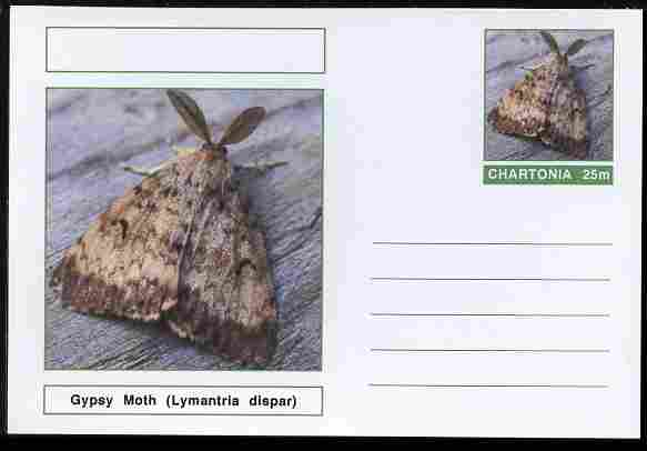 Chartonia (Fantasy) Moths - Gypsy Moth (Lymantria dispar) postal stationery card unused and fine