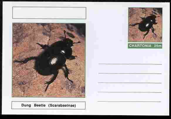 Chartonia (Fantasy) Insects - Dung Beetle (Scarabaeinae) postal stationery card unused and fine