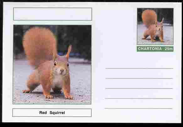 Chartonia (Fantasy) Animals - Red Squirrel postal stationery card unused and fine