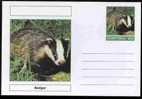 Chartonia (Fantasy) Animals - Badger postal stationery card unused and fine