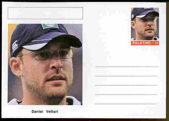 Palatine (Fantasy) Personalities - Daniel Vettori (cricket) postal stationery card unused and fine