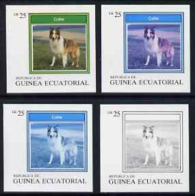 Equatorial Guinea 1977 Dogs EK25 (Collie) set of 4 imperf progressive proofs on ungummed paper comprising 1, 2, 3 and all 4 colours (as Mi 1133)