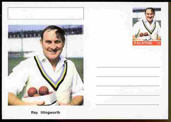 Palatine (Fantasy) Personalities - Ray Illingworth (cricket) postal stationery card unused and fine