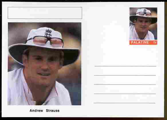 Palatine (Fantasy) Personalities - Andrew Strauss (cricket) postal stationery card unused and fine