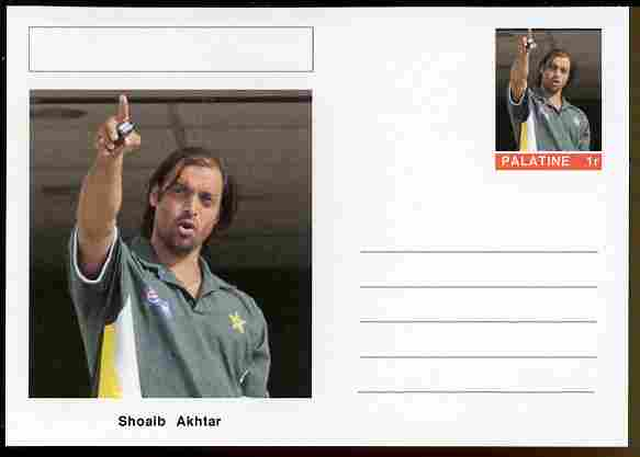 Palatine (Fantasy) Personalities - Shoaib Akhtar (cricket) postal stationery card unused and fine