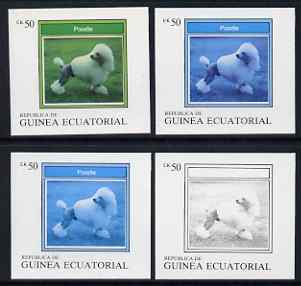 Equatorial Guinea 1977 Dogs EK50 (Poodle) set of 4 imperf progressive proofs on ungummed paper comprising 1, 2, 3 and all 4 colours (as Mi 1134) , stamps on , stamps on  stamps on animals   dogs    poodle